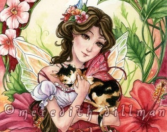 Fairy art print, Calico Cat, Red Hibiscus flower, 5x7 size, art for kids, Cat Lover