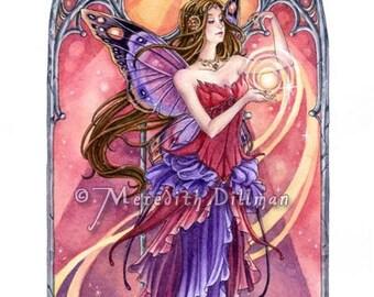 Fairy art print | Faerie Queen | Art Nouveau | Four Seasons | Sunset colors | Summer Sun