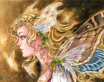 Fairy art print | Fairy Lights |Autumn Fantasy art | moth wings | 5x7 | watercolor illustration