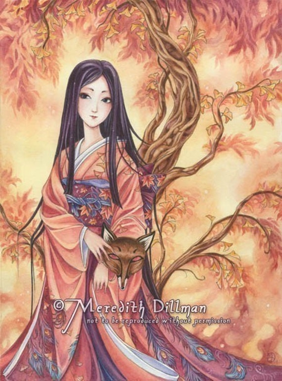 japanese art kitsune fox spirit kimono w ginkgo leaf art