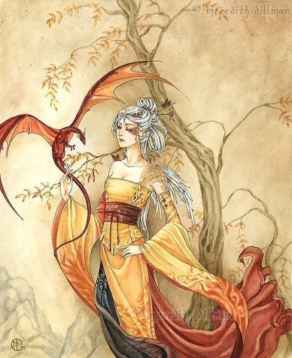 Dragon art, Elf lady, Asian style Fantasy art, Japanese dress, Limited Edition print - The Golden One