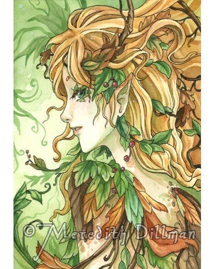 Original watercolor painting Wood Earth Fairy