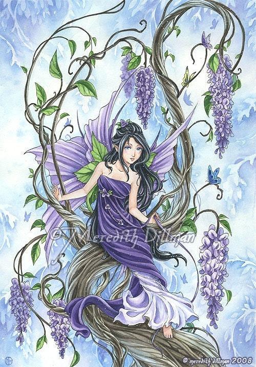 Wisteria Flower Fairy Art Fantasy Print Purple And Blue