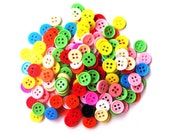 RAEWADOLLY 100pcs Tiny Button 8mm 4 hole