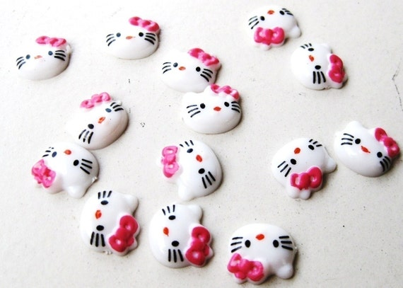 RAEWADOLLY 6pc Hello Kitty Cabochon Cabs 10mm FREE SHIPPING great for Scrapbook, Craft, Project, Hair Clip, Hairtie, Earrings, Ring, Pendant