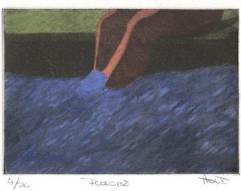 Hand colored silk etching of female figure in swimming pool, (silk aquatint, silk mezzotint, silk collograph)