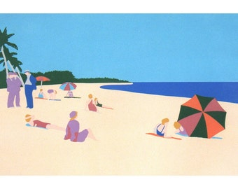 Miami Beach Florida seascape print, hand pulled vintage silkscreen, home decor wall art beach print