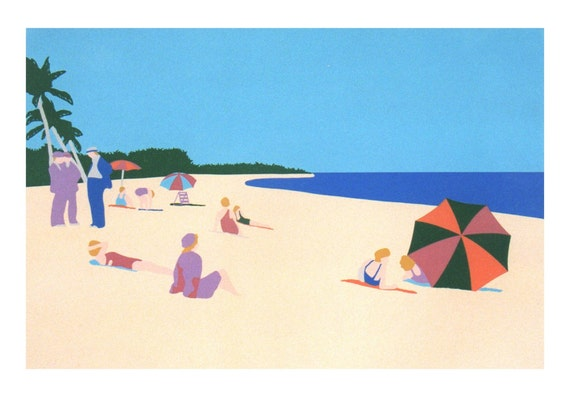 Vintage Miami Beach Florida seascape print with figures, original silkscreen print in pastels, beach decor wall art home decor beach print