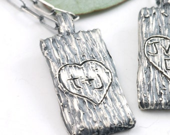 Tree Bark of Love Pendant - sterling silver custom personalized initial pendant - tree carving