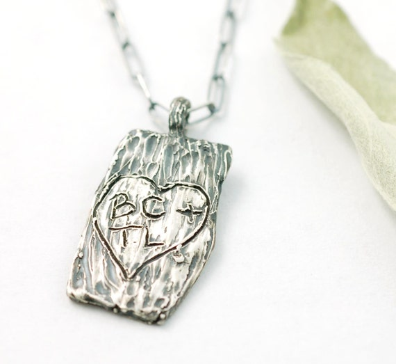 CUSTOM Tree Bark of Love Pendant - sterling silver
