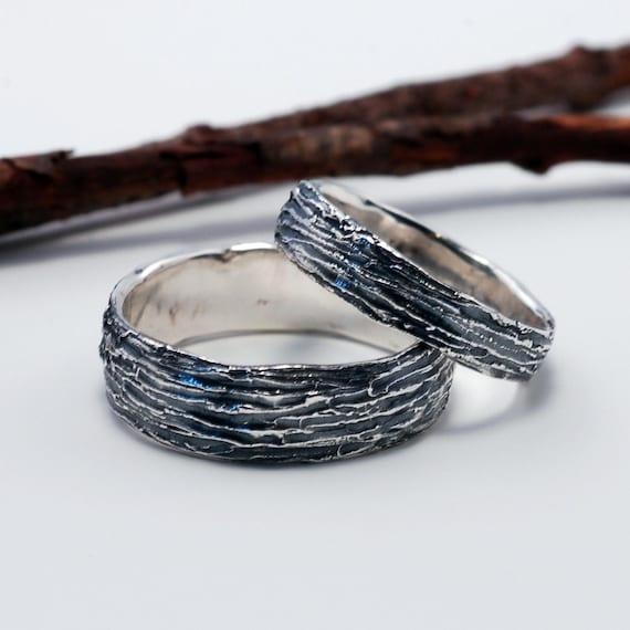 Tree Bark Wedding Rings - Made to Order