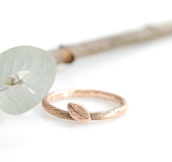 14k Rose Gold Vine and Leaf Ring - sz 5 - READY TO SHIP
