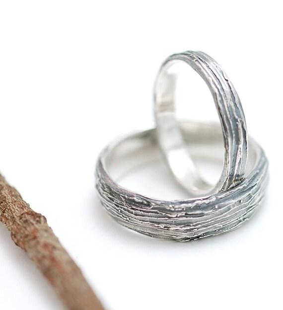 Tree Bark Wedding Rings - Made to Order -  Womens 3mm, Mens 6mm
