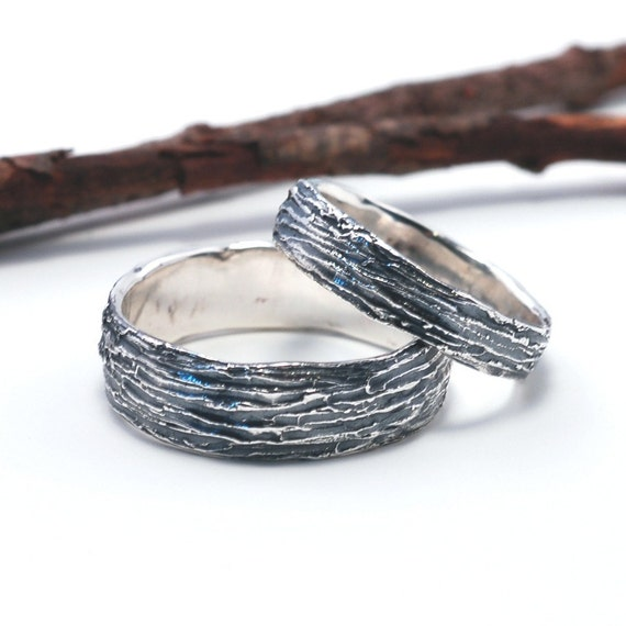 Sterling Tree Bark Wedding Rings - Made to Order - Womens 4mm and 6mm
