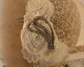 Fascinator Blusher Veil Head Piece 4 . Ivory