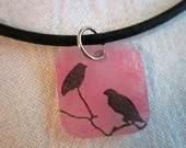 Bird Silhouette Necklace - Pink