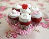 Miniature Red Velvet Cupcakes on Pink Lace Cupcake Stand