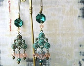 Chandelier, Crystal, Earrings, Blue, Pink, Verdigris, Bohemian Gypsy, Boho Jewelry