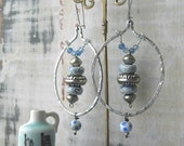 China Blue Earrings, Crystal, Blue, Silver, White, Bohemian Gypsy, Dangle Earrings