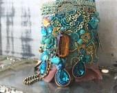 Boho Turquoise Bracelet, Vintage Embroidery, Blue, Gold, Beaded, Bohemian Gypsy