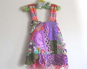 Artful Lavender Top, Antique, Vintage, Applique, Hand Dyed Lace, Purple, Pink, Green, Bohemian Gypsy