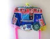 RESERVED First Instalment - Happy Soul Apron, Over Skirt, Vintage Embroidered, Rainbow, Lace, Polka Dots, Hot Pink, Boho Clothing