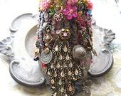 RESERVED for LG - Fantastical Rain Dance Gypsy Jangle Bracelet, Vintage, Antique, Elements, Pink, Kuchi, Gypsy, Cuff