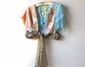 RESERVED - Sentiments Jacket, Antique Silk Embroidery, Edwardian, Recycled, Apricot, Aqua, Bird, Butterfl Flowers, Bohemian,