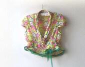 Floral  Top, Vintage Lace, Sheer, Tank, Rustic, Yellow, Pink, Green, Orange, Crop Top, Bohemian