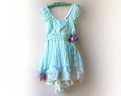 RESERVED Deposit Payment for Brandy - Chiffon Dress, Aqua, Mint, Blue, Green, Floaty, Purple Flower, Vintage Lace, Gypsy Bohemian