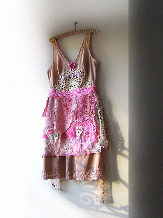 RESERVED Part Payment - Rose Truffle dress, Vintage Slip, Old Lace, Pink, Pretty Dress, Bohemian Gypsy