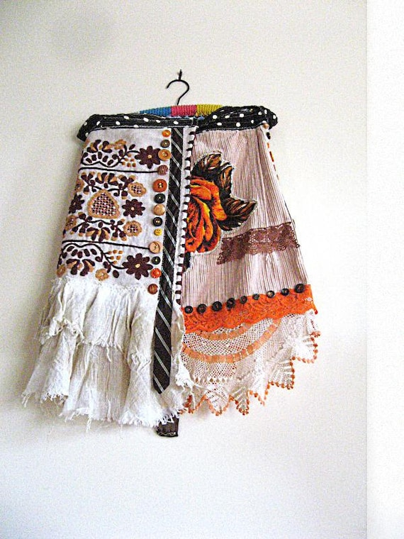 RESERVED Aline Skirt, Vintage Fabric, Orange Flower, Embroidered, Tattered, Bohemian Gypsy, Rustic, Hippie Clothing