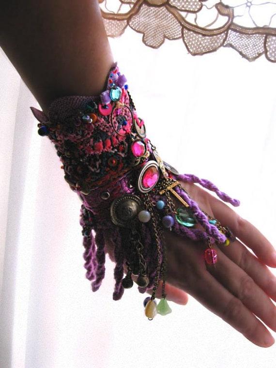 Reflectance, Gypsy Jangle,Purple Beaded Bracelet, Woven, Gypsy Bohemian, Tribal, Belly Dance