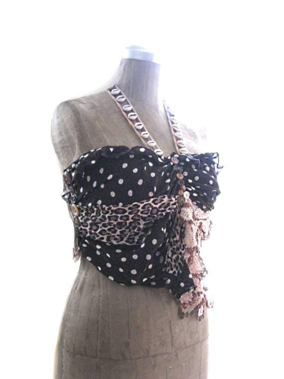 Tribal Polka Dot Safari Top, Jungle Gypsy, Bohemian, Shell, Halter, Leopard, Vintage Lace, Boho Clothing