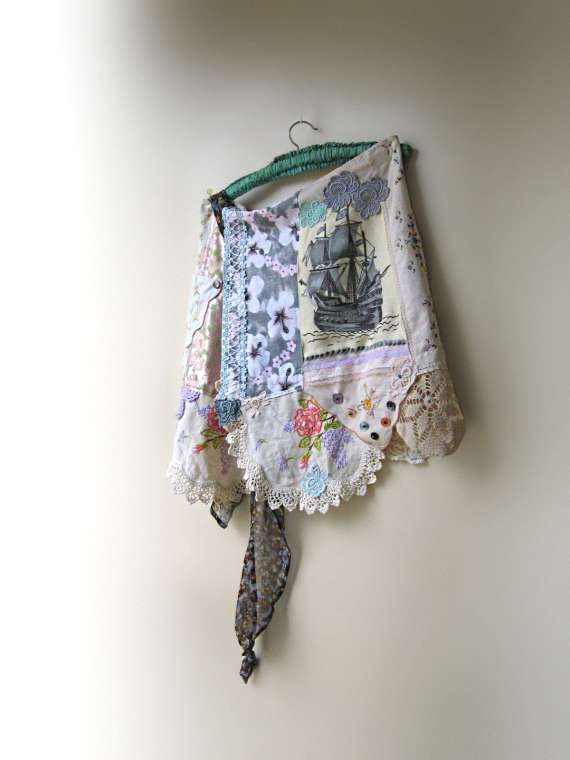 Sail Away Skirt, Vintage Ship, Embroidery, Lace, Wrap, Bohemian Gypsy, Rustic