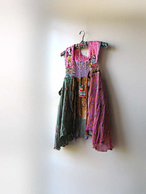 RESERVED for Marsha - Deposit - Floaty Silk Jacket, Vest, Indian, Native, Chief, Pink, Green, Purple, Bohemian Gypsy, Boho