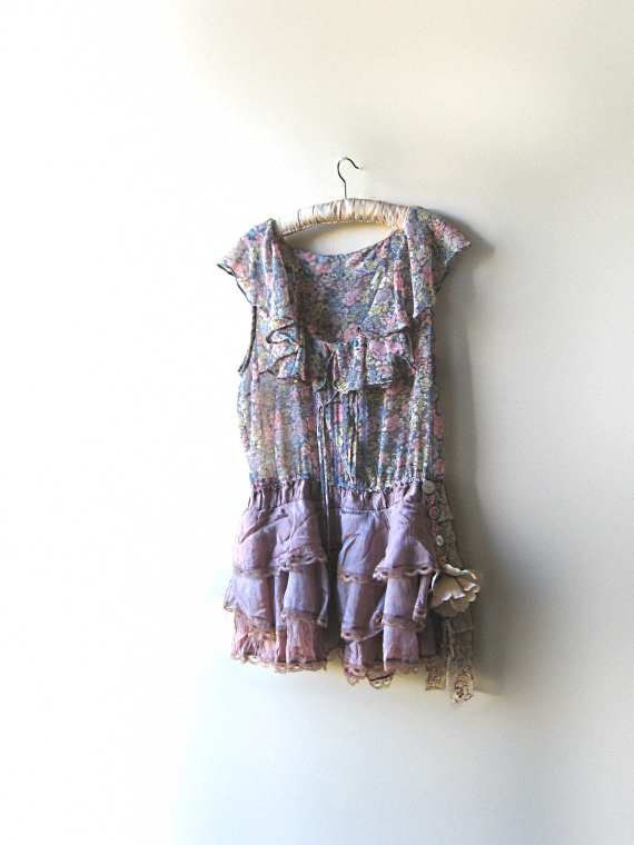 RESERVED. DEPOSIT PAYMENT for Pauline - The Ruffled Rose Dress, Pretty, Recycled, Frilly, Floral, Tiered Dress, Pink, Green, Boho