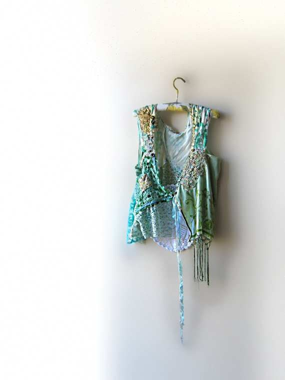 NOW RESERVED for Linda - Minty Jacket, Sleeveless, Vest, Green, Silk, Beaded, Embroidered, Aqua, Vintage Lace, Gold, Gypsy Boho