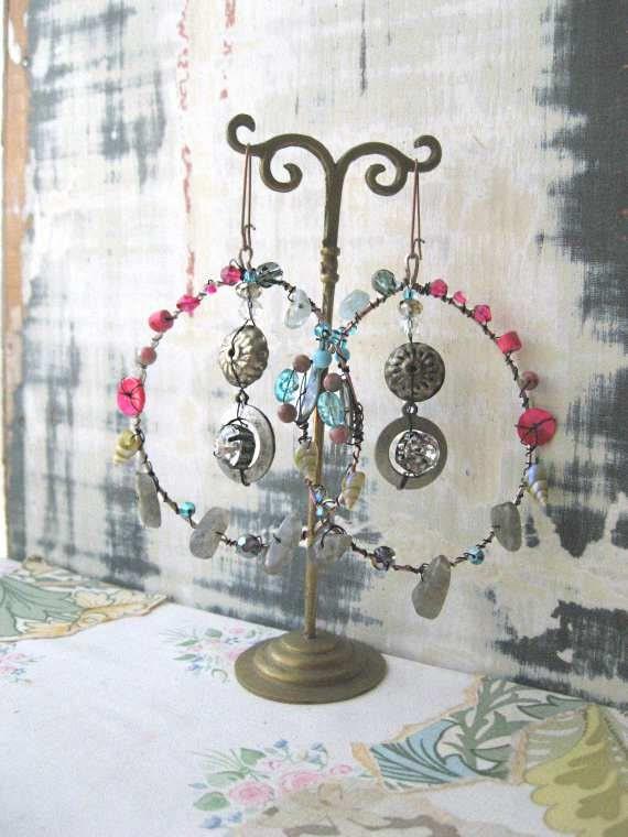 Pink Sky Earrings, Labradorite, Sea Shell, Crystal, Aqua Marine, Large, Hoop, Dangle Earrings, Bohemian Gypsy