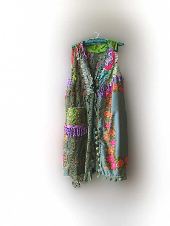 Bellissimo Jacket, Long, Italian, Vintage, Flowers, Green, Orange, Pink, Purple, Bohemian