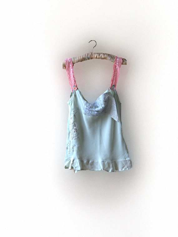 Minty Top, Sea Foam, Mint, Georgette, Chiffon, Appliqued, Silver, pink, Boho Clothing