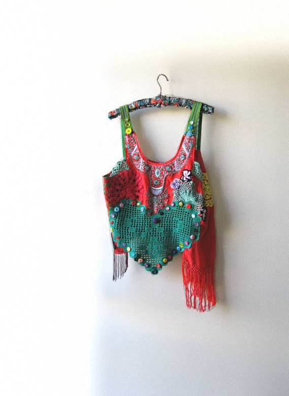 Latin Reggae Love heart top, Intricate Beading, Vintage Doily, Green, Yellow, Red, Pink, Purple, Bohemian