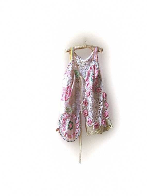 Dreamy Summer Jacket, Vintage Lace, Doilies, Embroidered Linen, Antique, Soft hues, Pink, Cream, Rustic, Boho Clothing