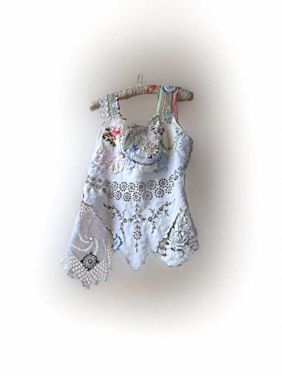Reserved for Dora - Linen and Lace Top, Vintage Appliqued, Embroidered, Doilies, Whites, Pink, Blue, Cream, Rustic, Bohemian