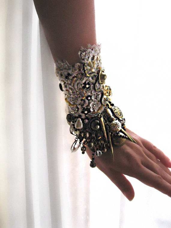RESERVED for LG - First Payment - Serpent Gypsy Jangle Bracelet, Antique Whites, Old Gold, Heavily Beaded, Texture, Bohemian