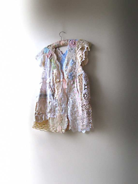 Antique Lace Jacket, Silk, Embroidery, Pretty, Faded, Soft Hues, Rustic, Bohemian