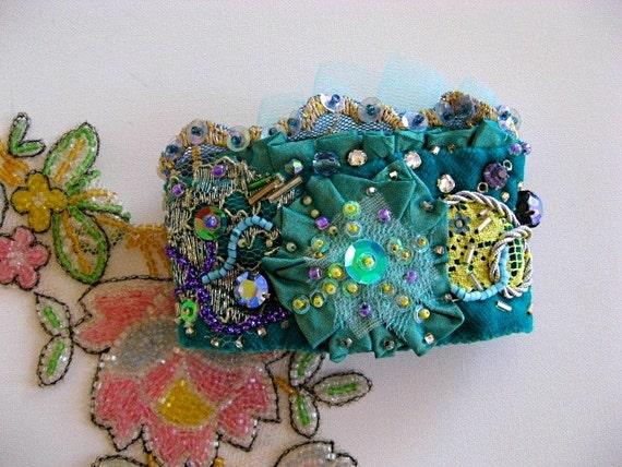 Diamond Sky - Vintage Velvet encrusted beaded appliqued Ruffle Cuff Bracelet