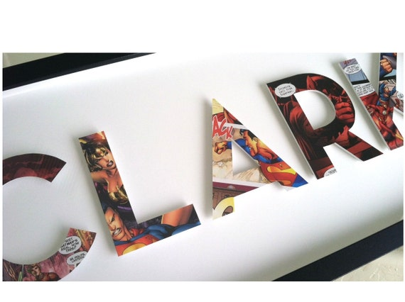 CUSTOM superhero alphabet name - 5 letters