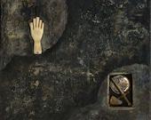 SALE - hidden things - original mixed media painting 7x8
