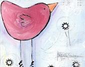 Pink Bird - ORIGINAL Folk Art Mixed Media Painting by TiF